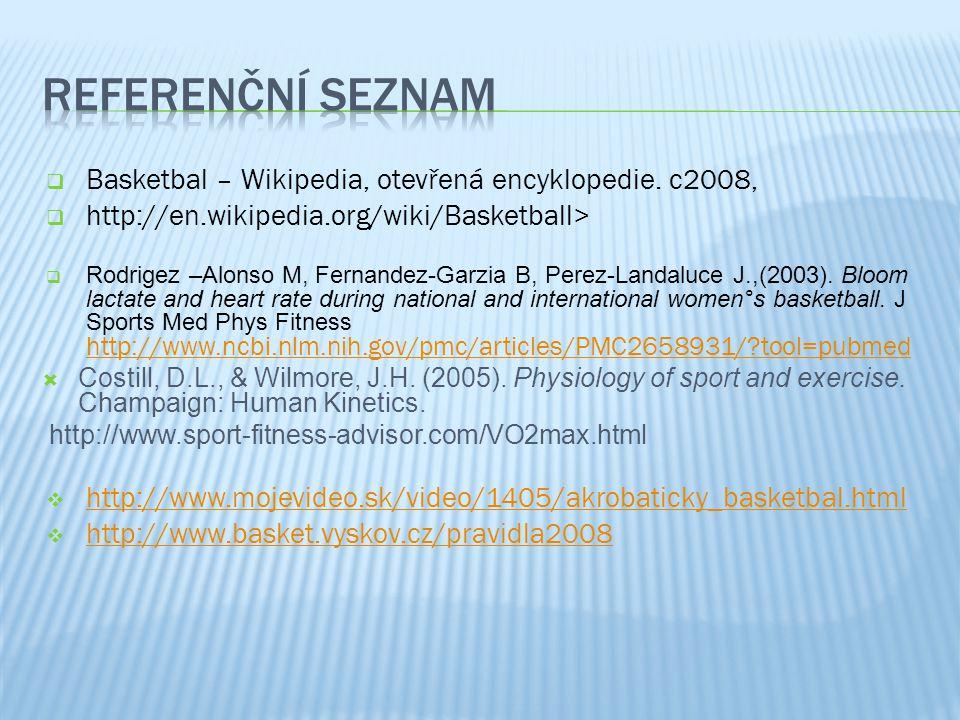 Referenční seznam Basketbal – Wikipedia, otevřená encyklopedie. c2008,
