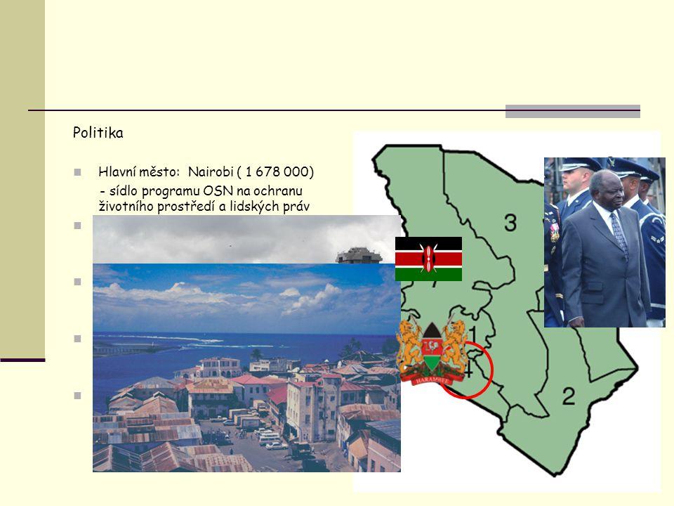Politika Prezident: Mwai Kibaki Hlavní město: Nairobi ( 1 678 000)
