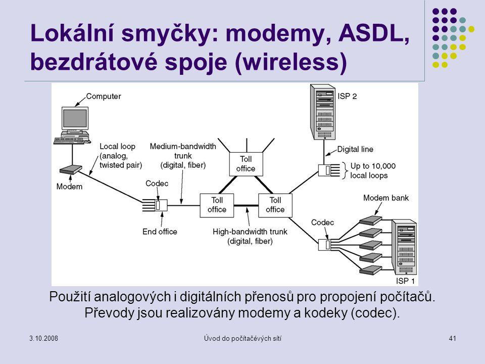 Lokální smyčky: modemy, ASDL, bezdrátové spoje (wireless)