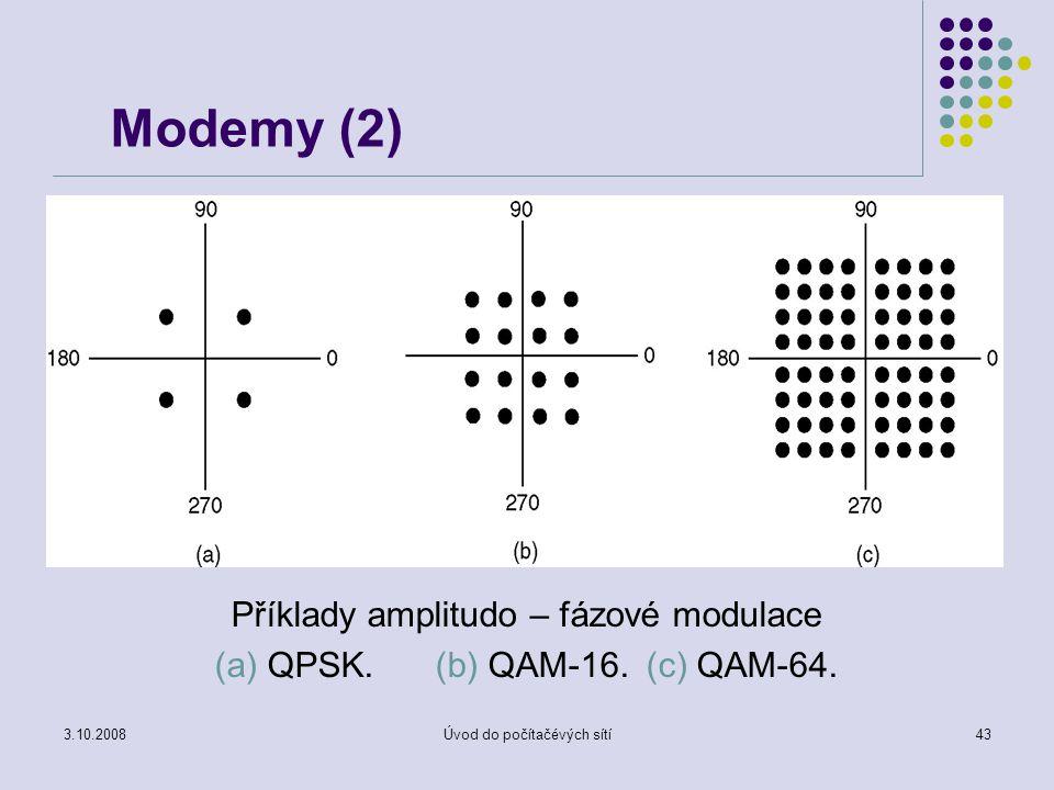 Modemy (2) Příklady amplitudo – fázové modulace