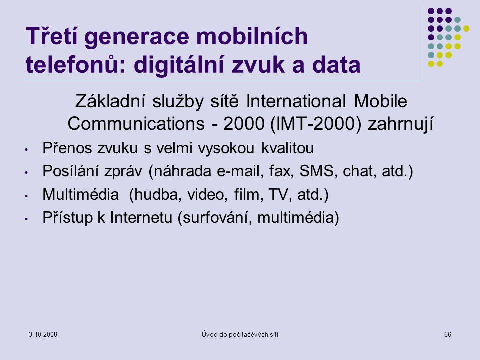 Třetí generace mobilních telefonů: digitální zvuk a data