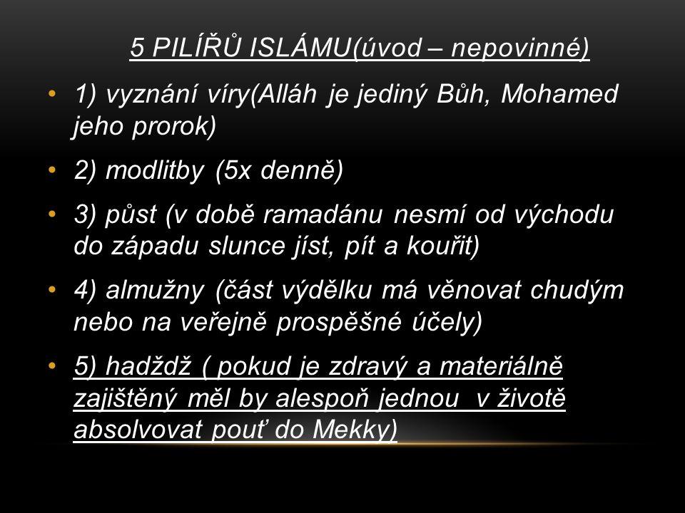 5 PILÍŘŮ ISLÁMU(úvod – nepovinné)