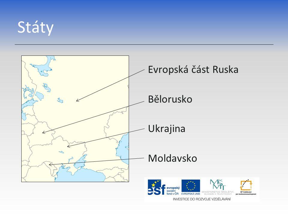 Státy Evropská část Ruska Bělorusko Ukrajina Moldavsko