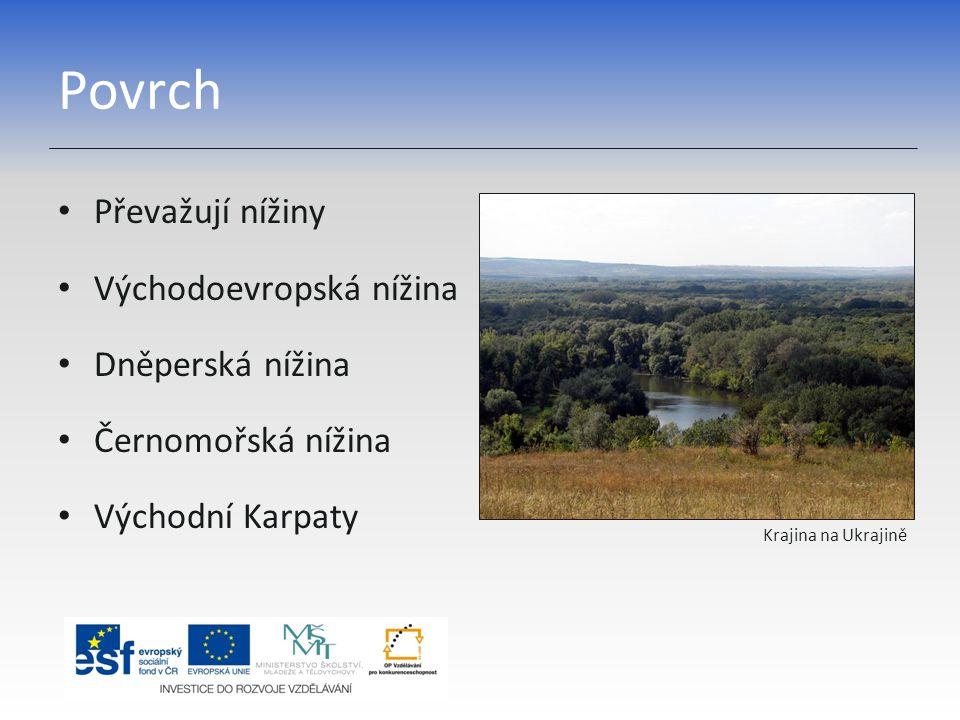 Povrch Převažují nížiny Východoevropská nížina Dněperská nížina