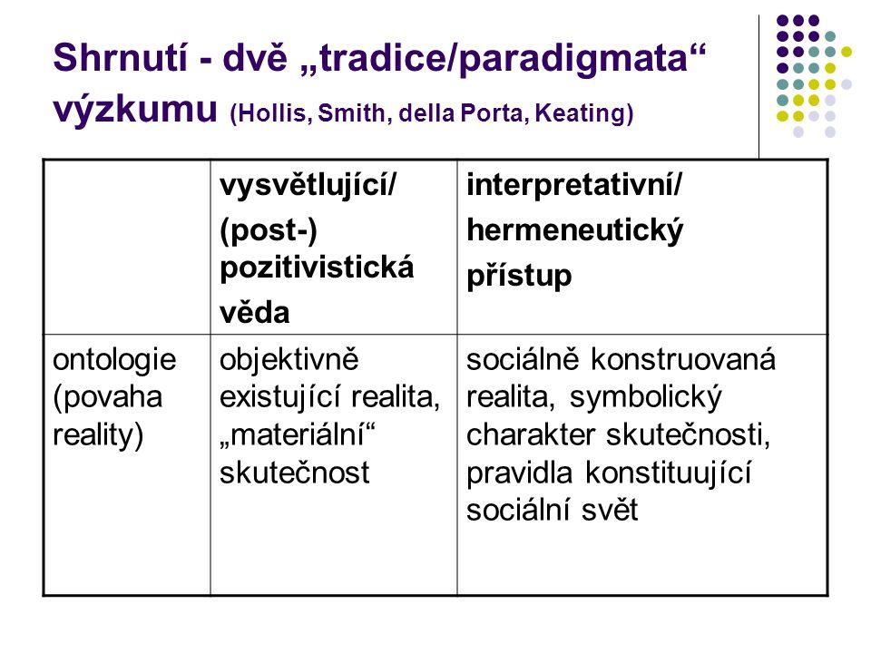 """Shrnutí - dvě """"tradice/paradigmata výzkumu (Hollis, Smith, della Porta, Keating)"""