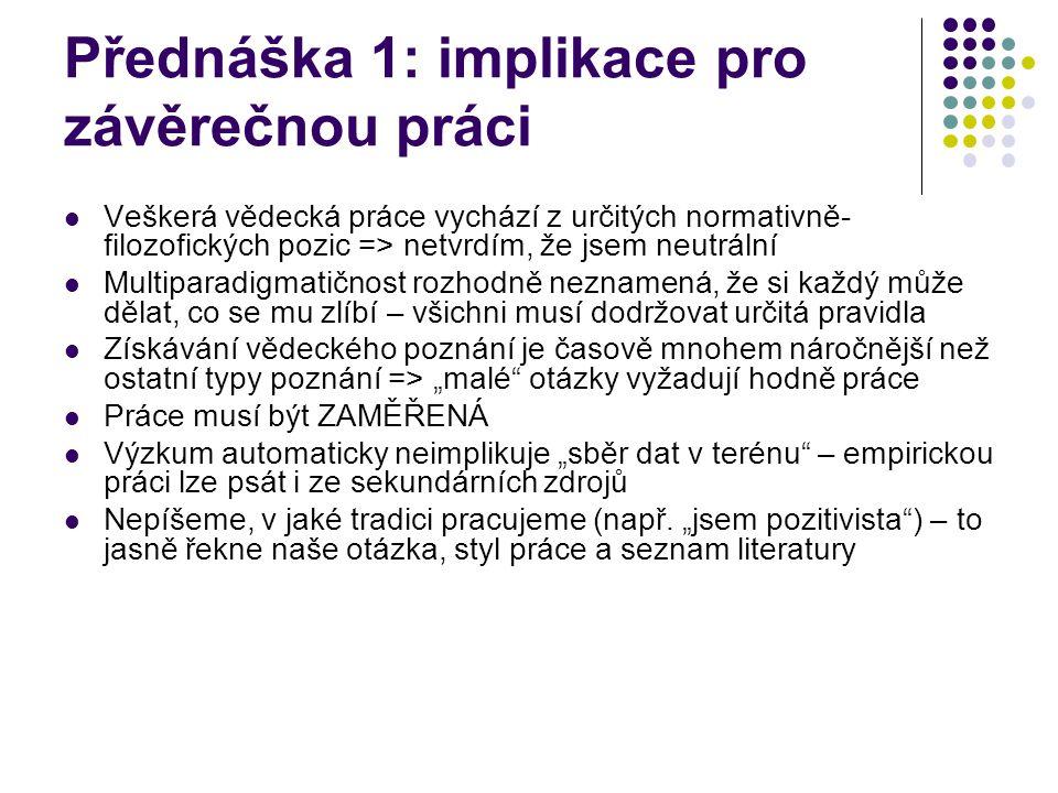 Přednáška 1: implikace pro závěrečnou práci
