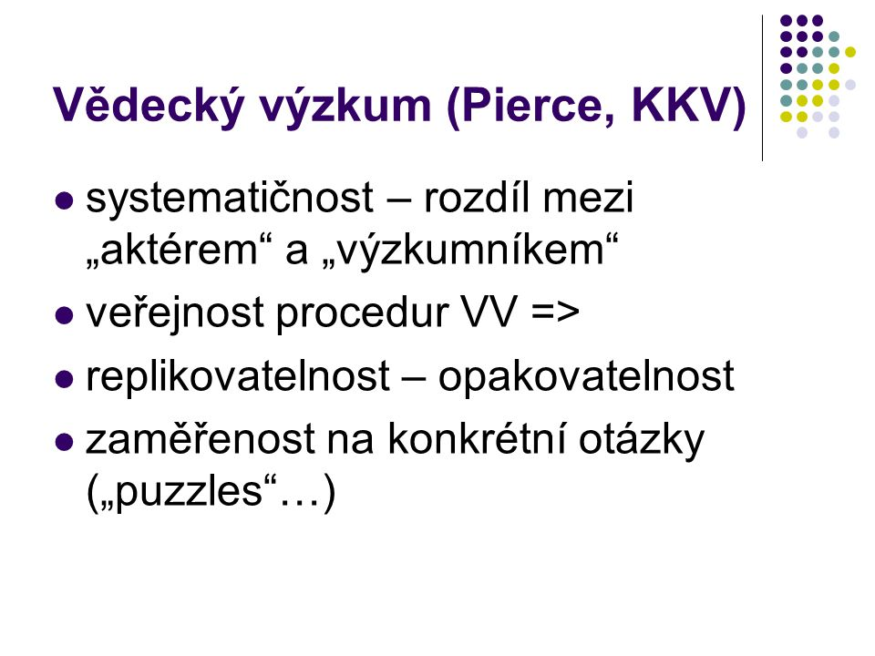 Vědecký výzkum (Pierce, KKV)