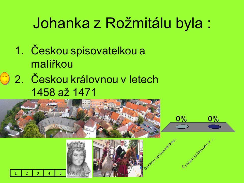 Johanka z Rožmitálu byla :