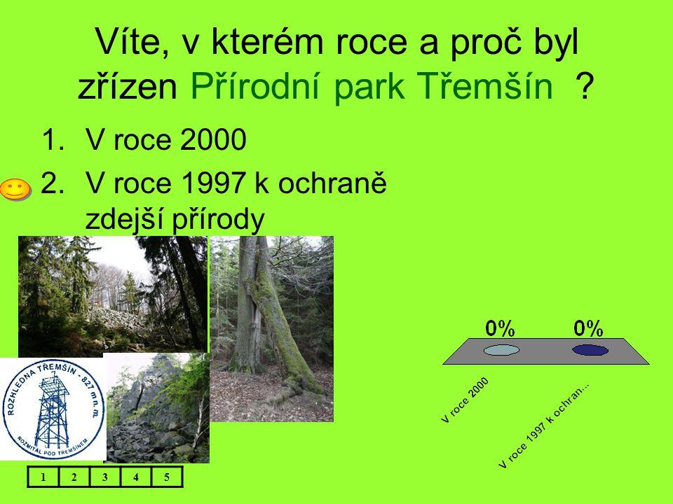 Víte, v kterém roce a proč byl zřízen Přírodní park Třemšín