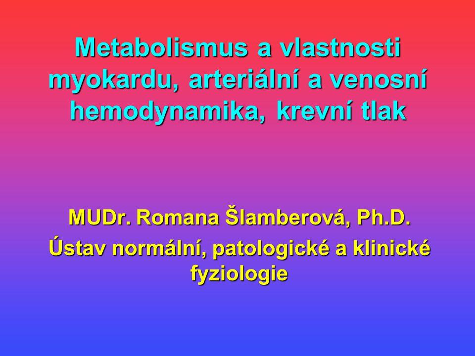 Metabolismus a vlastnosti myokardu, arteriální a venosní hemodynamika, krevní tlak