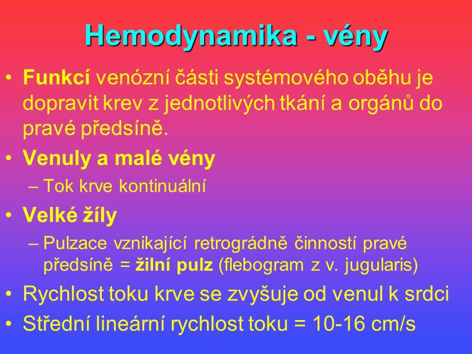 Hemodynamika - vény Funkcí venózní části systémového oběhu je dopravit krev z jednotlivých tkání a orgánů do pravé předsíně.