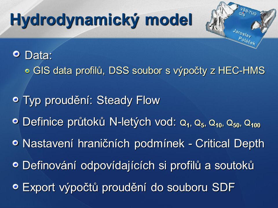 Hydrodynamický model Data: Typ proudění: Steady Flow