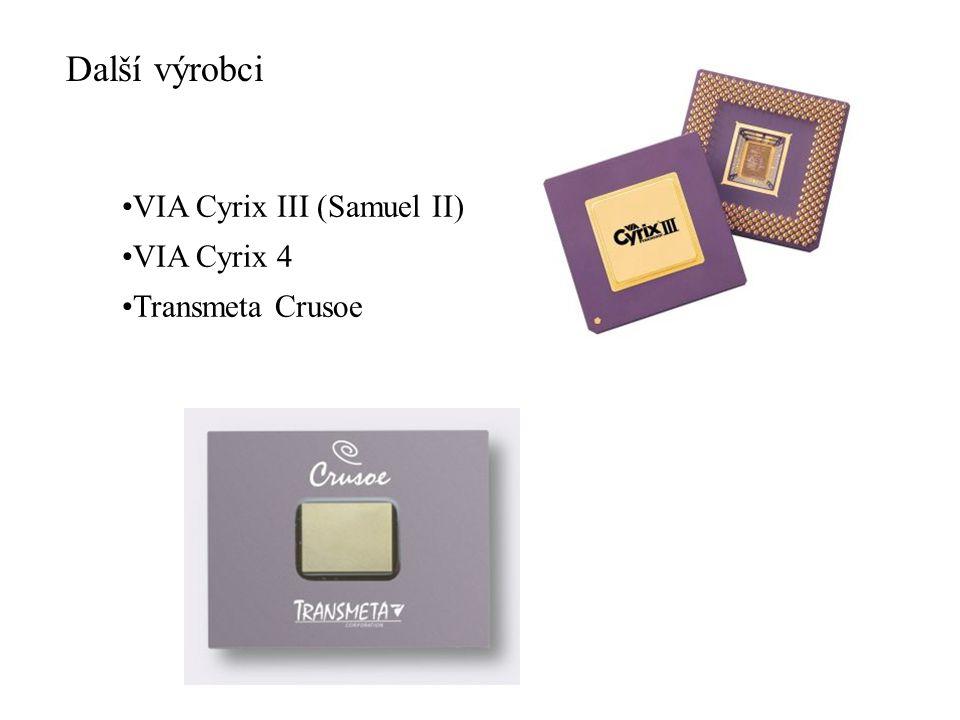 Další výrobci VIA Cyrix III (Samuel II) VIA Cyrix 4 Transmeta Crusoe