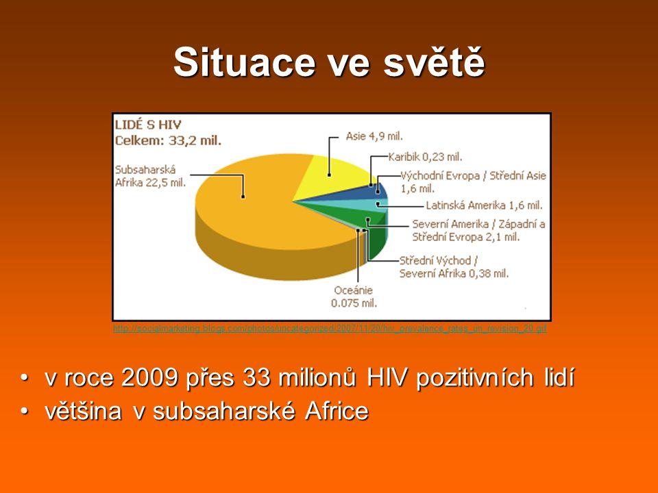 Situace ve světě v roce 2009 přes 33 milionů HIV pozitivních lidí