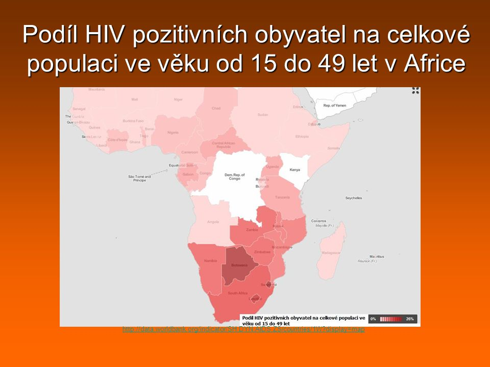 Podíl HIV pozitivních obyvatel na celkové populaci ve věku od 15 do 49 let v Africe