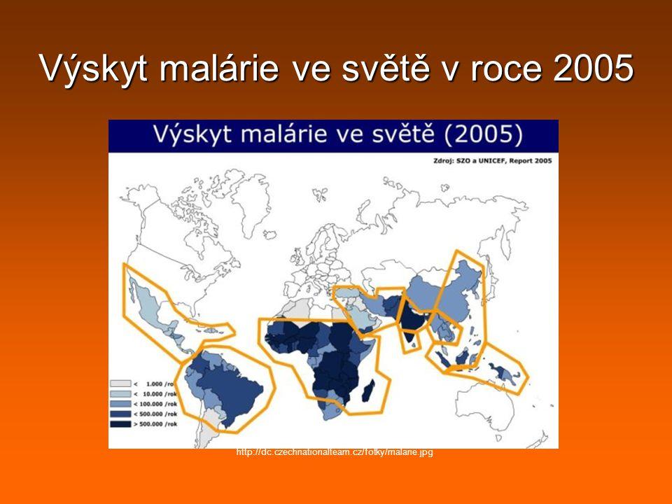 Výskyt malárie ve světě v roce 2005