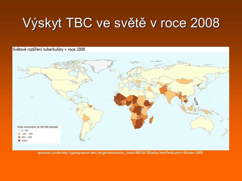 Výskyt TBC ve světě v roce 2008
