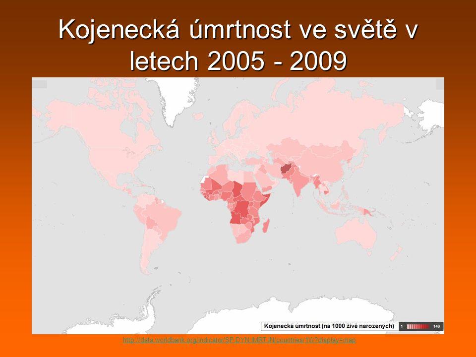 Kojenecká úmrtnost ve světě v letech 2005 - 2009