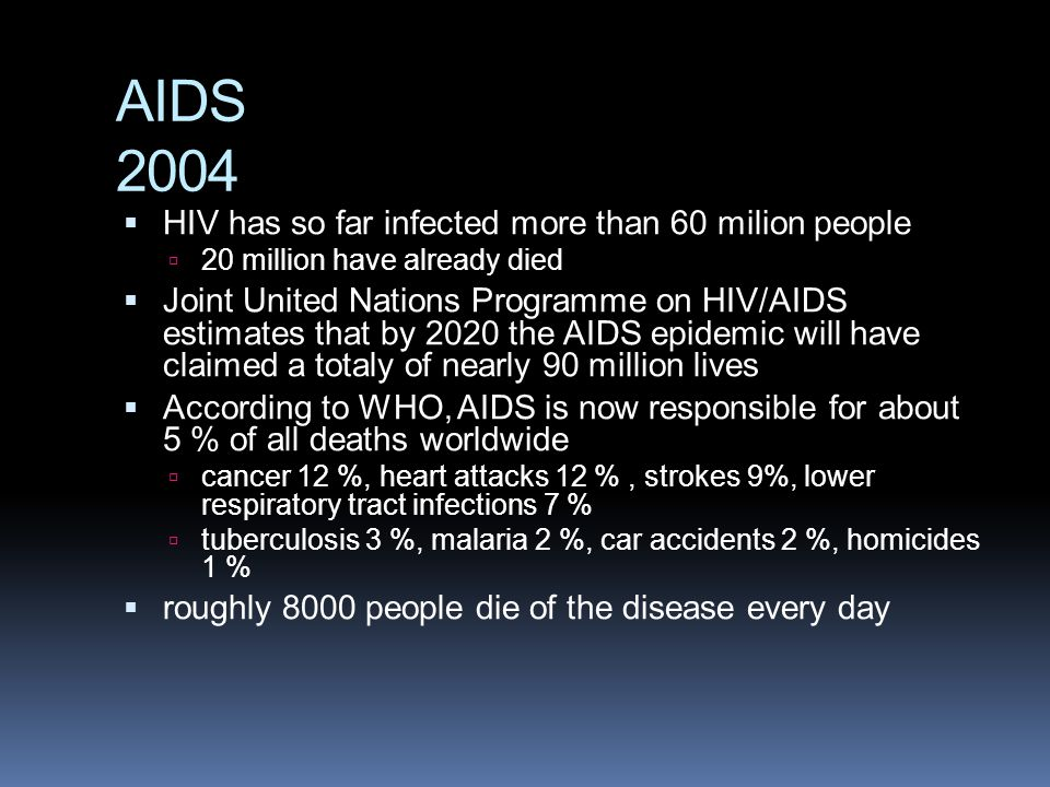 AIDS 2004 HIV has so far infected more than 60 milion people