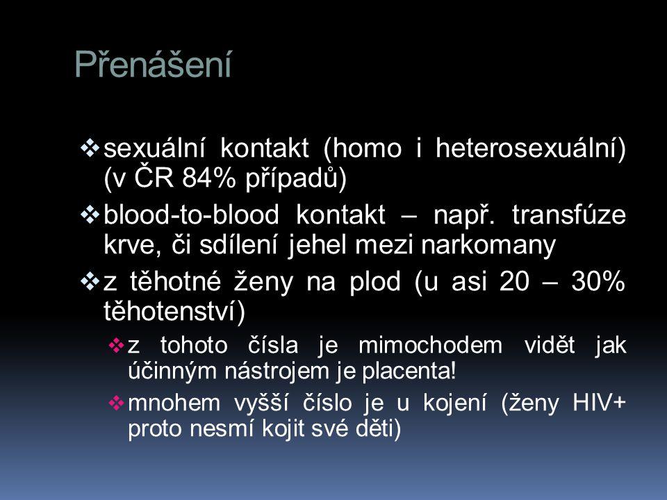 Přenášení sexuální kontakt (homo i heterosexuální) (v ČR 84% případů)