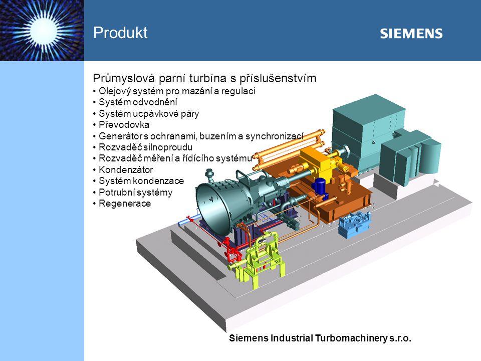 Produkt Průmyslová parní turbína s příslušenstvím