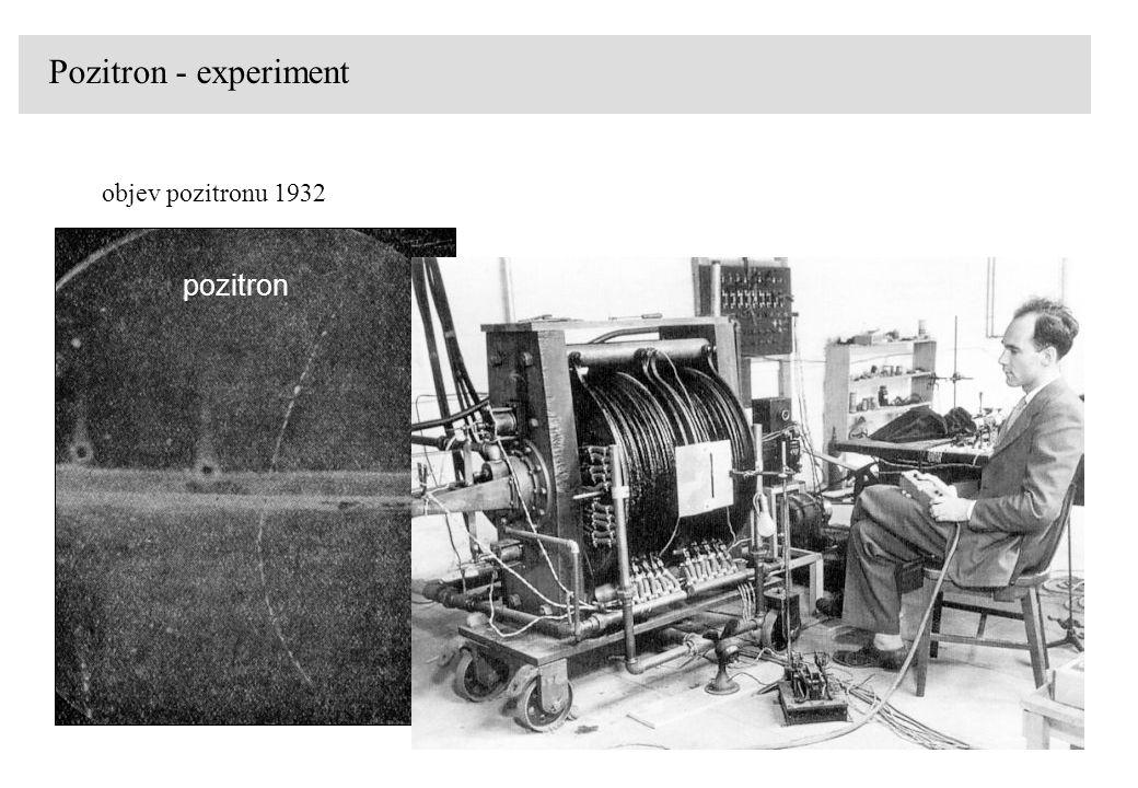 Pozitron - experiment objev pozitronu 1932 pozitron