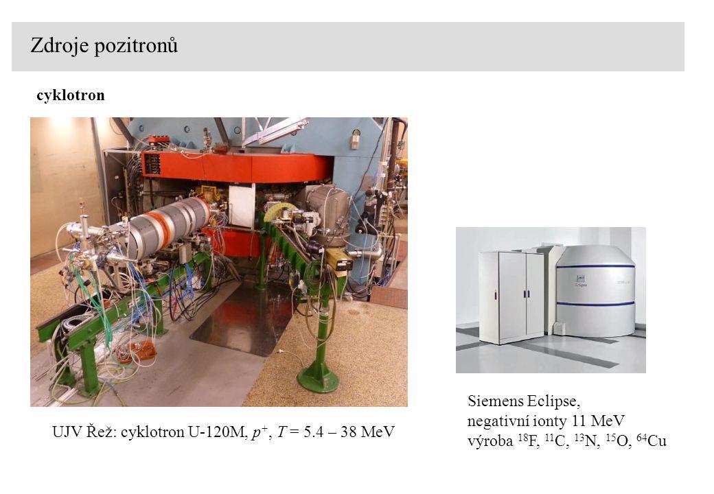 Zdroje pozitronů cyklotron Siemens Eclipse, negativní ionty 11 MeV