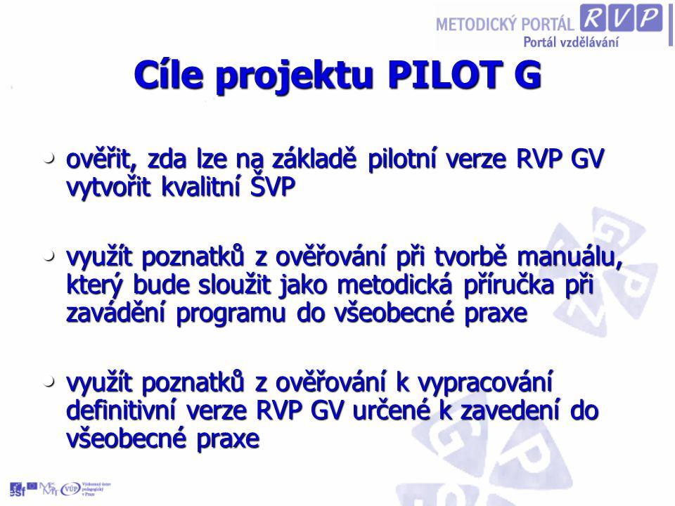 Cíle projektu PILOT G ověřit, zda lze na základě pilotní verze RVP GV vytvořit kvalitní ŠVP.