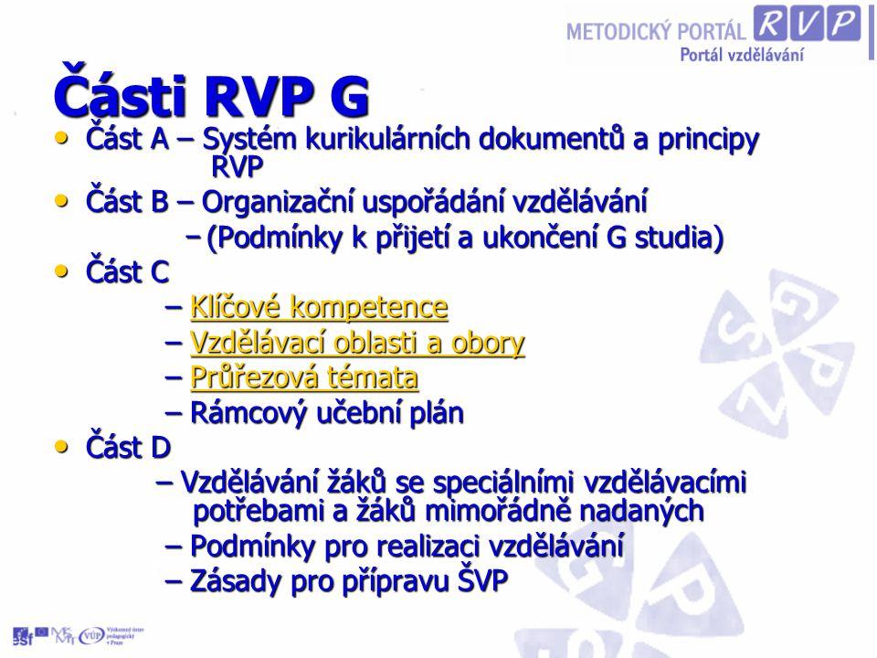 Části RVP G Část A – Systém kurikulárních dokumentů a principy RVP