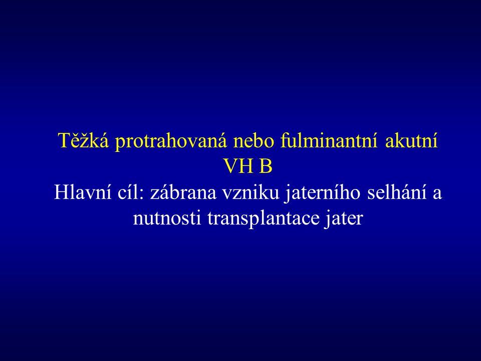 Těžká protrahovaná nebo fulminantní akutní VH B Hlavní cíl: zábrana vzniku jaterního selhání a nutnosti transplantace jater