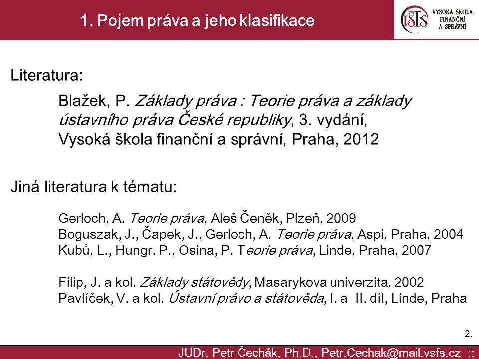 1. Pojem práva a jeho klasifikace