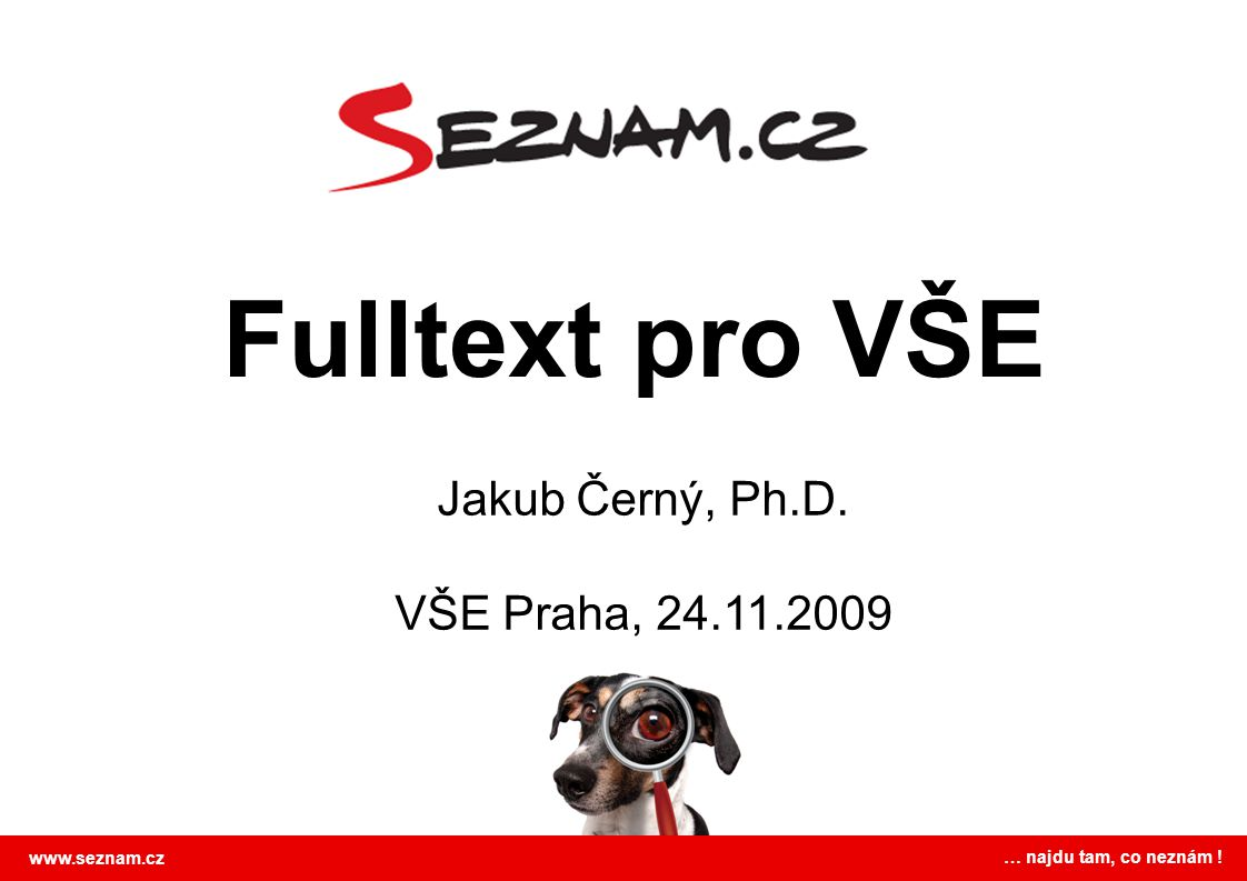 Fulltext pro VŠE Jakub Černý, Ph.D. VŠE Praha, 24.11.2009