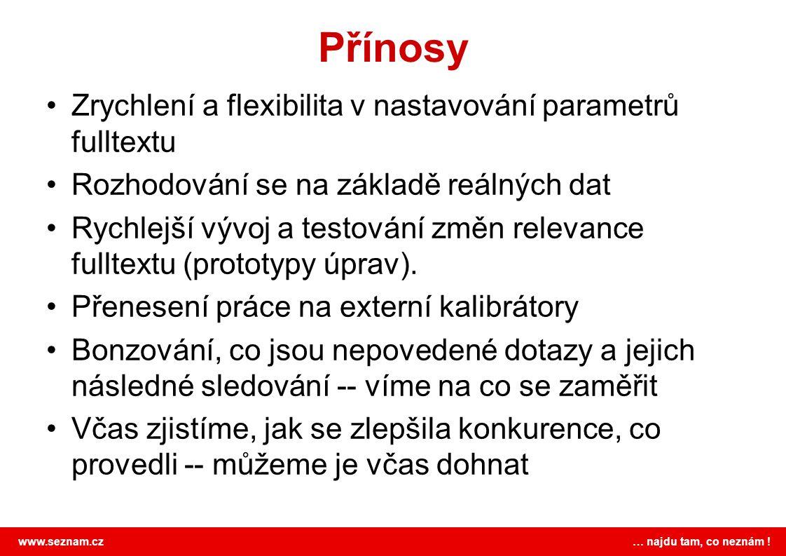 Přínosy Zrychlení a flexibilita v nastavování parametrů fulltextu
