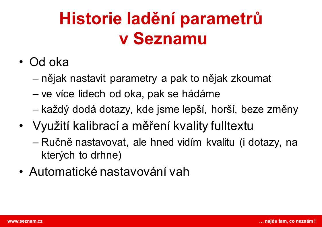 Historie ladění parametrů v Seznamu