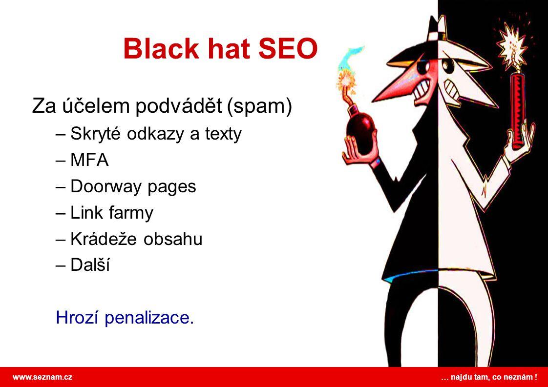 Black hat SEO Za účelem podvádět (spam) Skryté odkazy a texty MFA