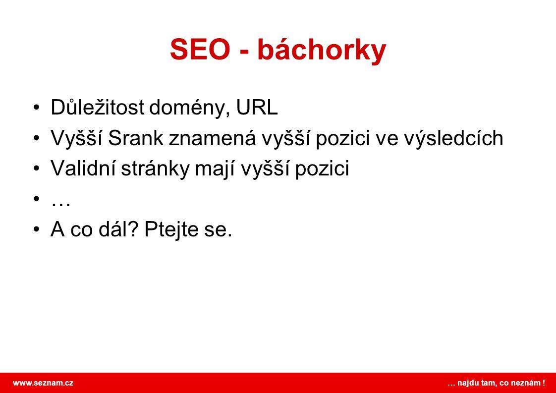 SEO - báchorky Důležitost domény, URL