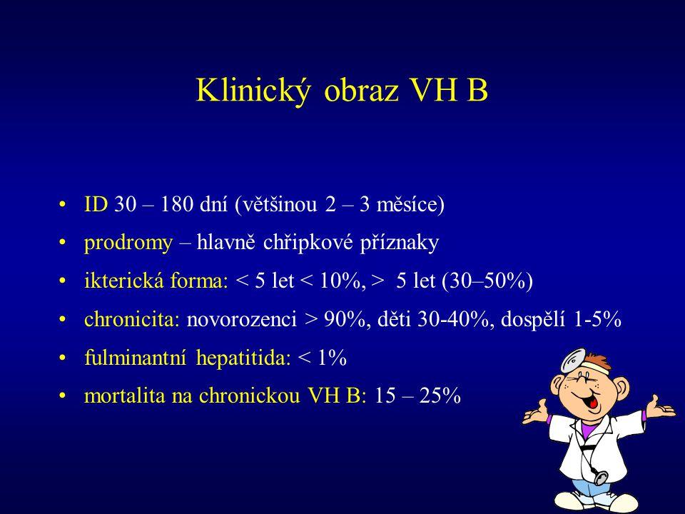 Klinický obraz VH B ID 30 – 180 dní (většinou 2 – 3 měsíce)