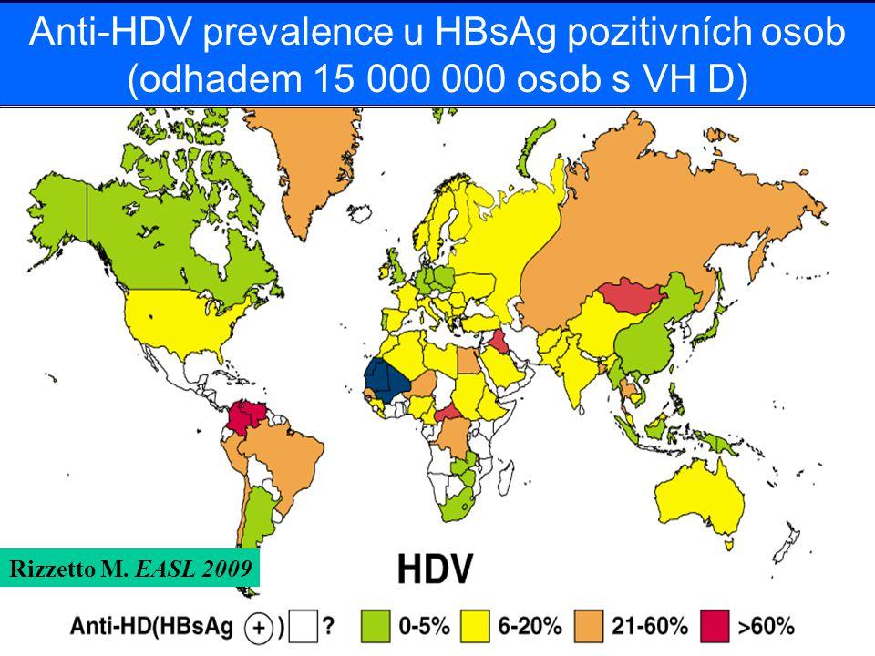 Anti-HDV prevalence u HBsAg pozitivních osob