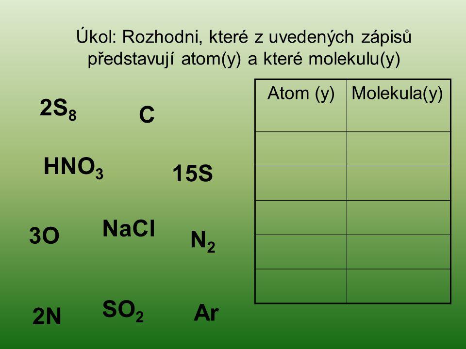 Úkol: Rozhodni, které z uvedených zápisů představují atom(y) a které molekulu(y)