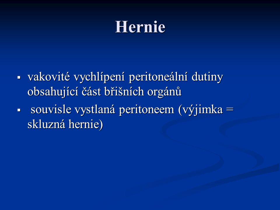 Hernie vakovité vychlípení peritoneální dutiny obsahující část břišních orgánů.