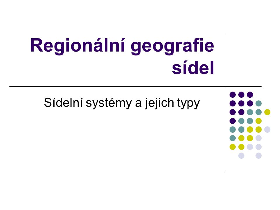 Regionální geografie sídel
