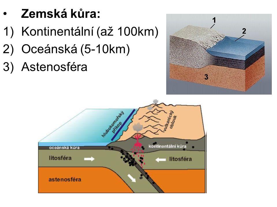 Zemská kůra: Kontinentální (až 100km) Oceánská (5-10km) Astenosféra