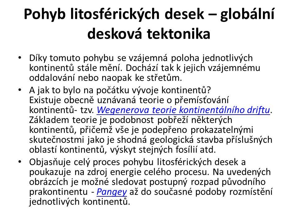 Pohyb litosférických desek – globální desková tektonika