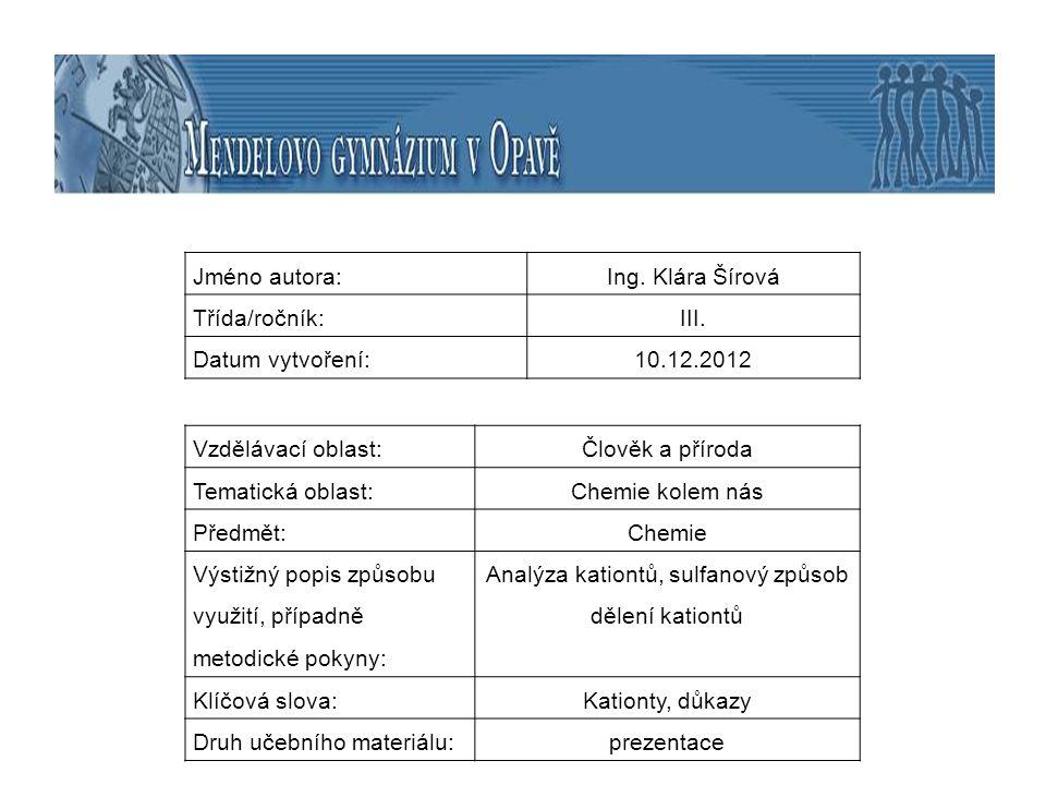Analýza kationtů, sulfanový způsob dělení kationtů