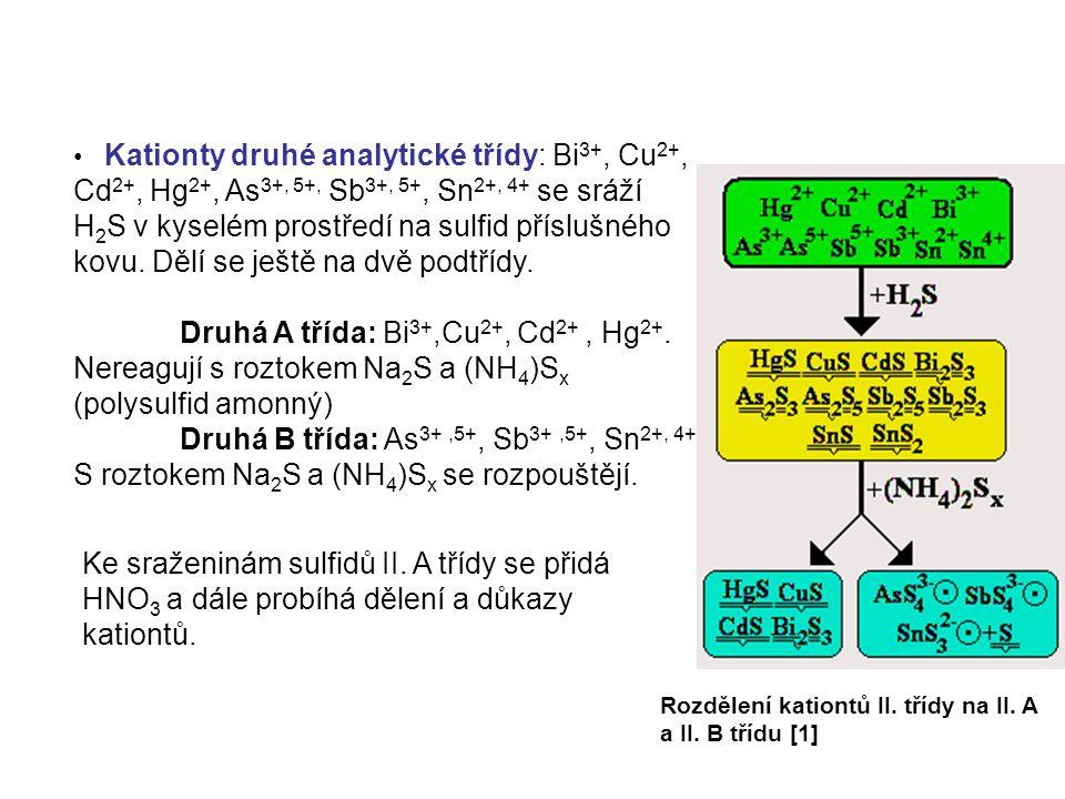 Kationty druhé analytické třídy: Bi3+, Cu2+, Cd2+, Hg2+, As3+, 5+, Sb3+, 5+, Sn2+, 4+ se sráží H2S v kyselém prostředí na sulfid příslušného kovu. Dělí se ještě na dvě podtřídy.