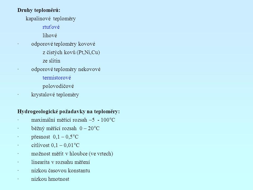 Druhy teploměrů: kapalinové teploměry. rtuťové. lihové. · odporové teploměry kovové.