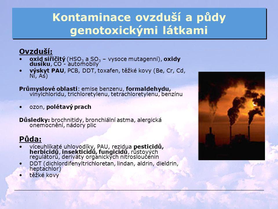 Kontaminace ovzduší a půdy genotoxickými látkami