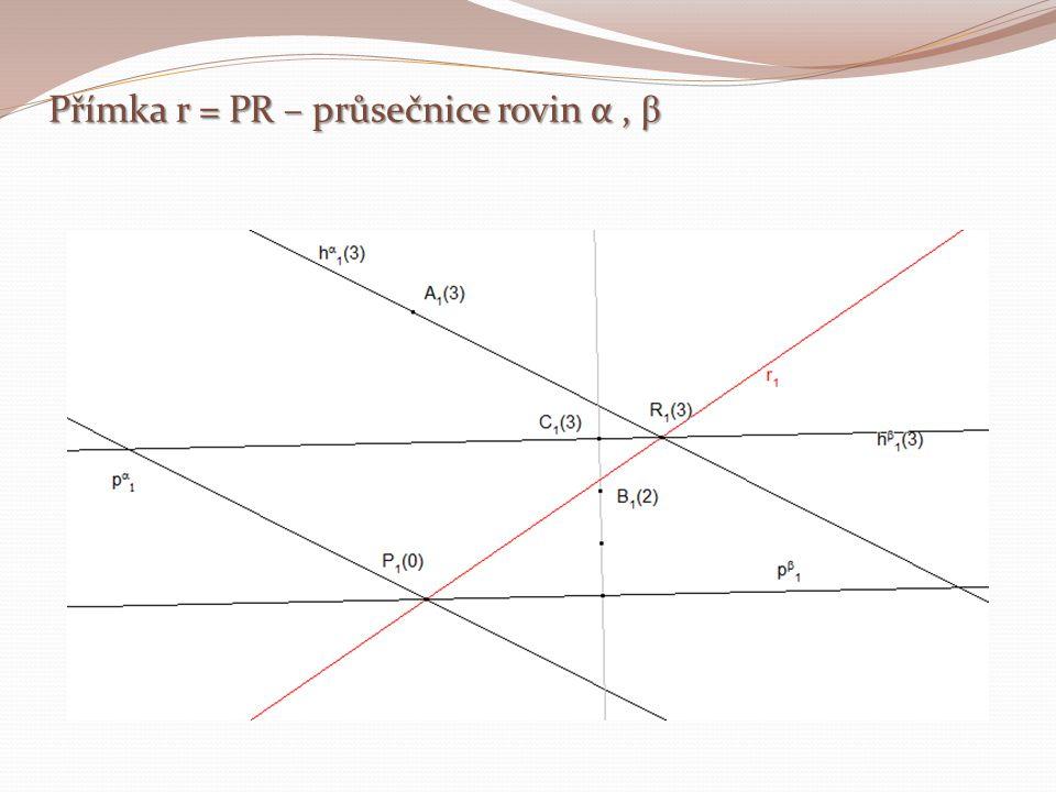 Přímka r = PR – průsečnice rovin α , β