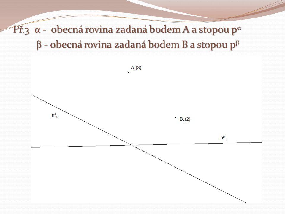Př.3 α - obecná rovina zadaná bodem A a stopou pα β - obecná rovina zadaná bodem B a stopou pβ