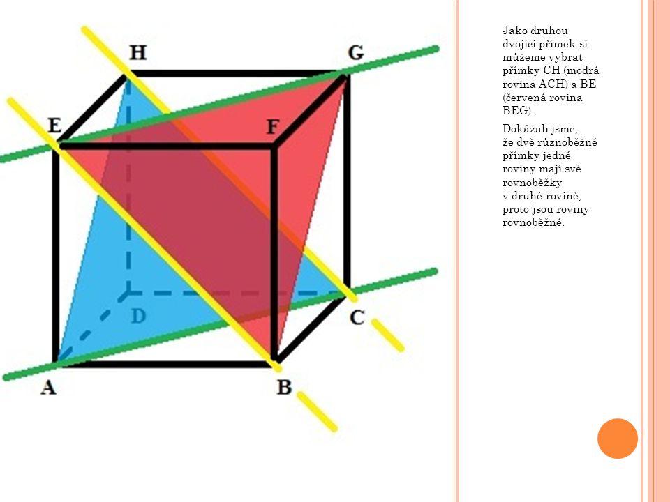 Jako druhou dvojici přímek si můžeme vybrat přímky CH (modrá rovina ACH) a BE (červená rovina BEG).